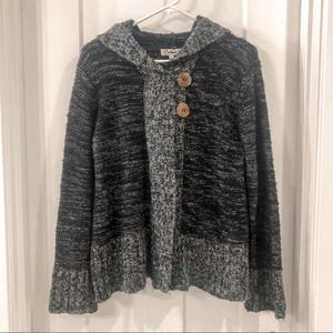 Carducci Knit Hooded Black and Gray Sweater